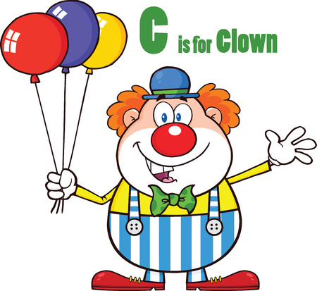 Funny Clown Cartoon Character With Balloons And Letter C  Illustration Isolated on white Vector