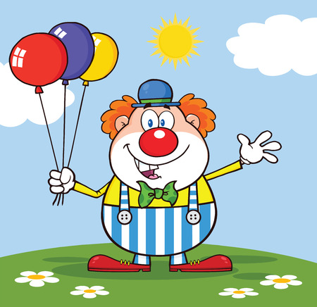 clown shoes: Funny Clown Cartoon Character With Balloons And Waving On Meadow Illustration