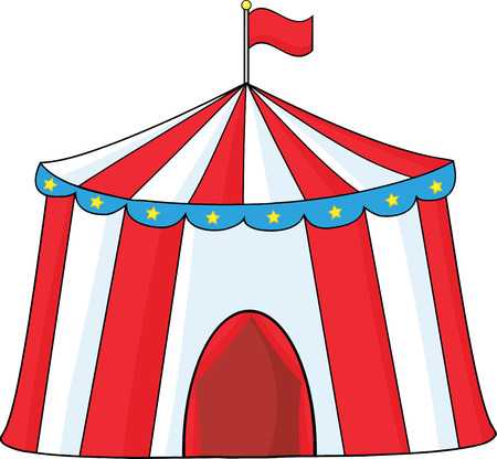Big Circus Tent  Illustration Isolated on white