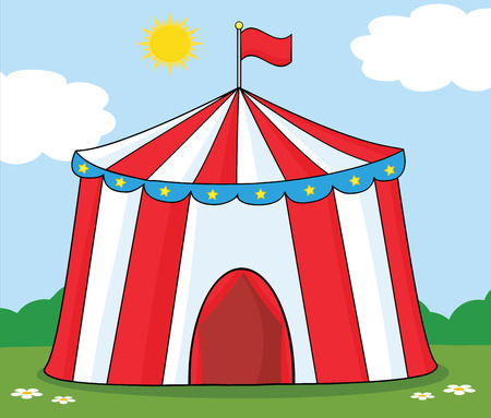 Big Circus Tent On Meadow Vector