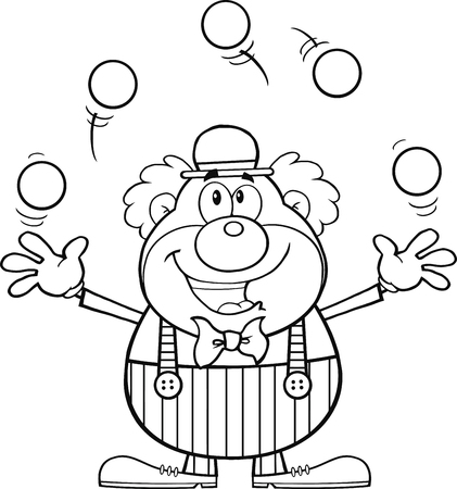 Black and White Funny Clown Cartoon Character Juggling With Balls  Illustration Isolated on white Vector