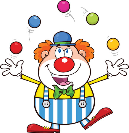 cartoon clown: Funny Clown Cartoon Character Juggling With Balls Illustration