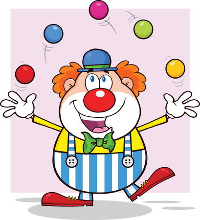 Happy Clown Cartoon Character Juggling With Balls
