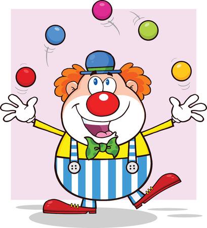 Happy Clown Cartoon Character Juggling With Balls
