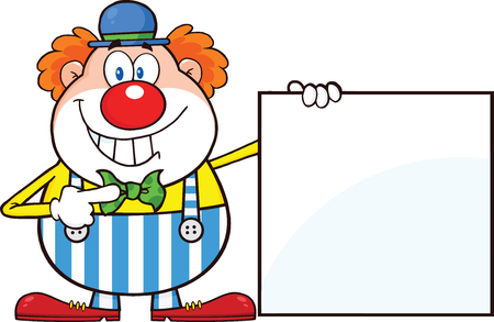 clown shoes: Smiling Clown Cartoon Character Showing A Blank Sign  Illustration Isolated on white
