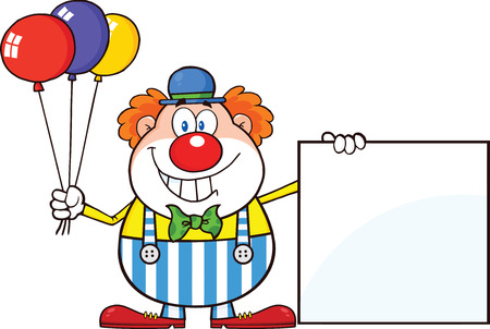 carnival costume: Funny Clown Cartoon Character With Balloons Showing A Blank Sign  Illustration Isolated on white