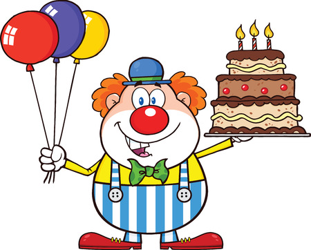Birthday Clown Cartoon Character With Balloons And Cake With Candles  Illustration Isolated on white Vector