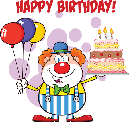 carnival costume: Happy Birthday With Clown Cartoon Character With Balloons And Cake With Candles  Illustration Isolated on white