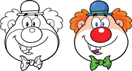 clowngesicht: Clown-Gesicht Cartoon Character Collection Set