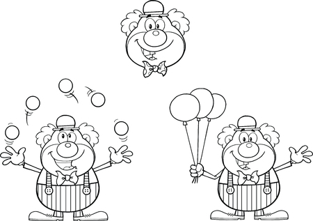 Black and White Funny Clown Cartoon Characters  Collection Set Vector