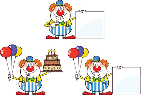 clown shoes: Funny Clown Cartoon Characters 1  Collection Set Illustration