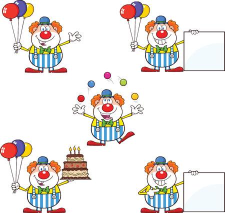 Lustiger Clown Cartoon Characters Collection Set 2 Vektorgrafik