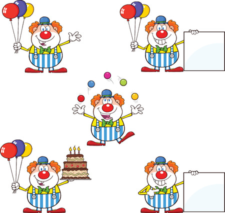Funny Clown Cartoon Characters 2  Collection Set