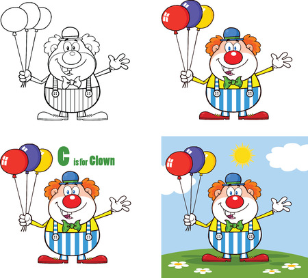 carnival costume: Funny Clown Cartoon Characters 3  Collection Set