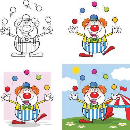 clown shoes: Funny Clown Cartoon Characters 4  Collection Set