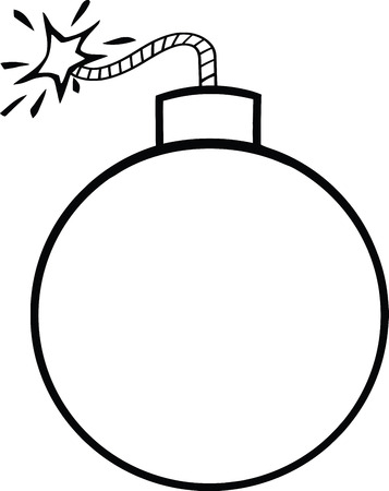 Black and White Cartoon Bomb With Lit Fuse  Illustration Isolated on white