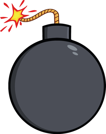 detonator: Cartoon Bomb With Lit Fuse  Illustration Isolated on white