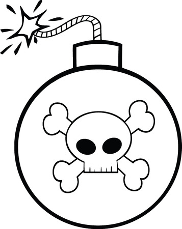 cartoon bomb: Black and White Cartoon Bomb With Skull And Crossbones  Illustration Isolated on white