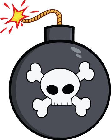 detonate: Cartoon Bomb With Skull And Crossbones  Illustration Isolated on white Illustration