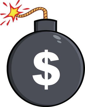 bomb cartoon: Cartoon Bomb With Dollar Sign  Illustration Isolated on white