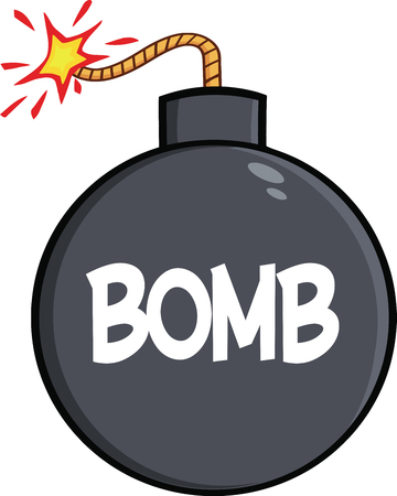 Cartoon Bomb With Text  Illustration Isolated on white Vector