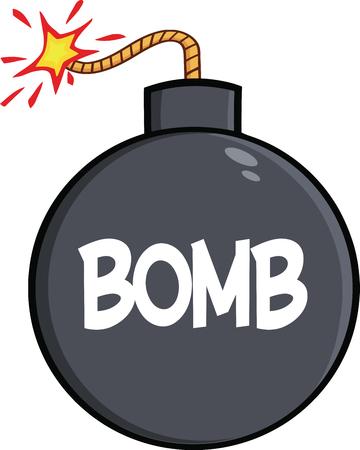 cartoon bomb: Cartoon Bomb With Text  Illustration Isolated on white