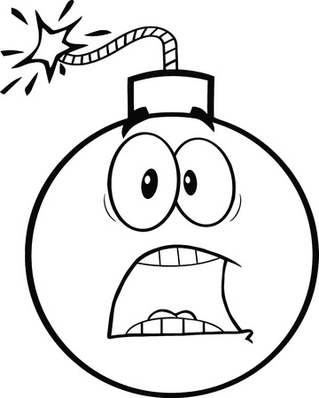Black and White Scared Bomb Cartoon Character  Illustration Isolated on white Vector