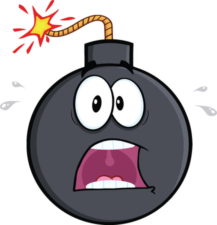 a cannon: Scared Bomb Cartoon Character  Illustration Isolated on white