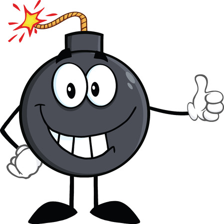 Smiling Bomb Cartoon Character Showing Thumbs Up  Illustration Isolated on white