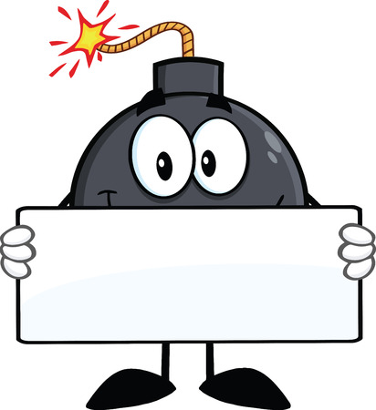 blank bomb: Funny Bomb Cartoon Character Holding A Banner  Illustration Isolated on white
