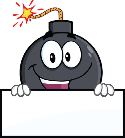 blank bomb: Happy Bomb Cartoon Character Over Blank Sign  Illustration Isolated on white Illustration