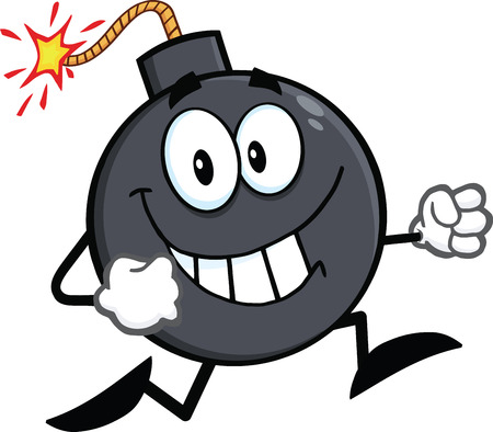 bomb explosion: Smiling Bomb Cartoon Character Running  Illustration Isolated on white