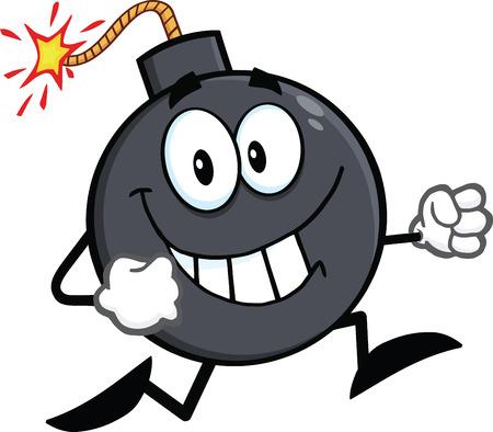 Smiling Bomb Cartoon Character Running  Illustration Isolated on white