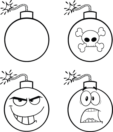 cartoon bomb: Black and White Bomb Cartoon Mascot Characters  Collection Set Illustration