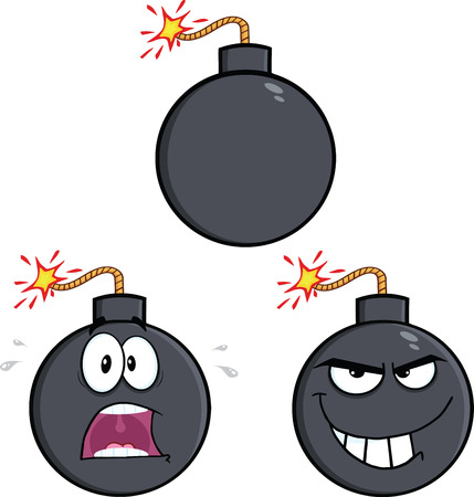 bomb: Bomb Cartoon Mascot Characters 2  Collection Set