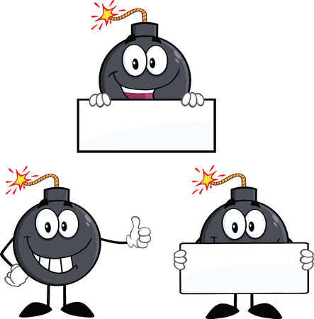 Bomb Cartoon Mascot Characters 4  Collection Set Vector