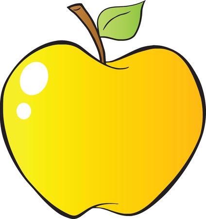 yellow apple: Cartoon Yellow Apple In Gradient  Illustration Isolated on white Illustration