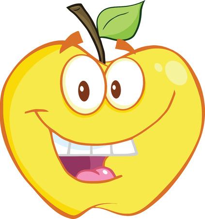 yellow apple: Smiling Yellow Apple Cartoon Mascot Character  Illustration Isolated on white Illustration