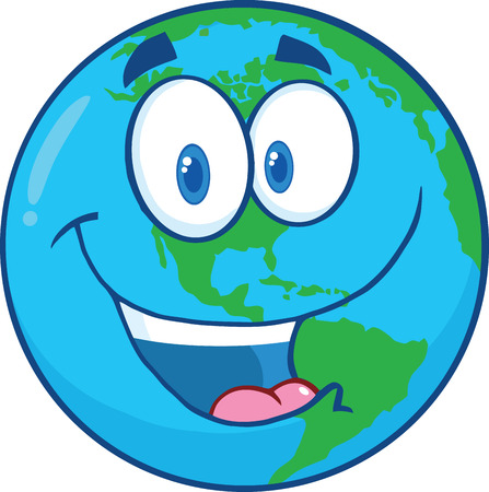 Happy Earth Cartoon Character  Illustration Isolated on white