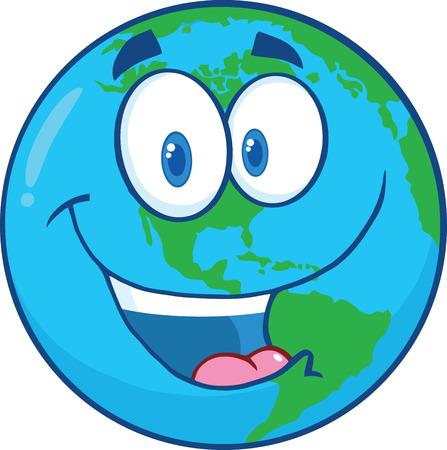 planeta tierra feliz: Ilustración feliz del personaje de dibujos Tierra aislado en blanco
