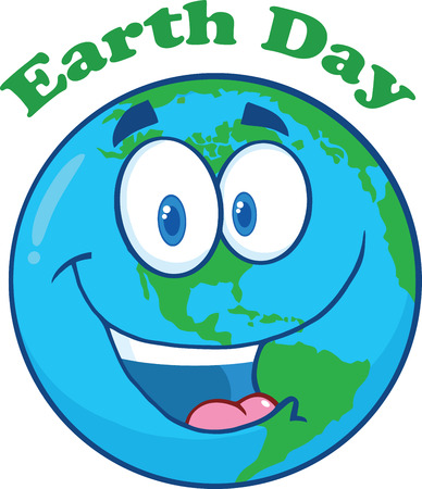 Happy Earth Cartoon Character Under Text Earth Day  Illustration Isolated on white Vector