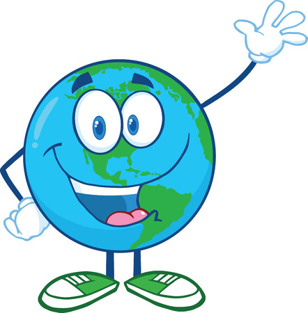 Earth Cartoon Mascot Character Waving For Greeting  Illustration Isolated on white