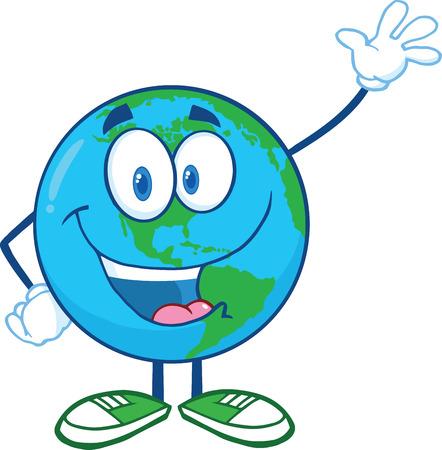 Tierra de dibujos animados carácter de la mascota que agita por Ejemplo del Aislados en blanco Foto de archivo - 28012000