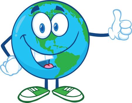 planeta tierra feliz: Carácter de la tierra de la historieta de la mascota que muestra los pulgares encima de la ilustración aislado en blanco