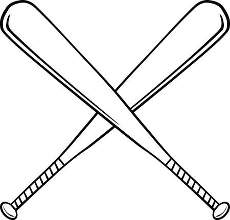 Zwart-wit Gekruiste honkbalknuppels illustratie geïsoleerd op wit Stock Illustratie