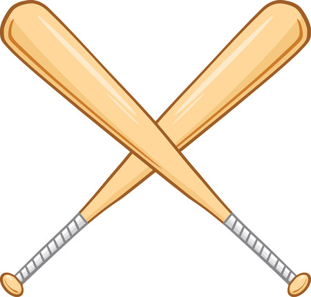 Two Crossed Baseball Bats  Illustration Isolated on white Vector