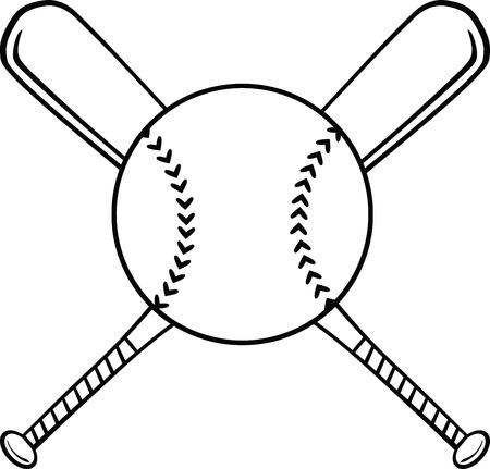 softbol: Negro y blanco cruzados bates de béisbol y bola ilustración aislada en blanco