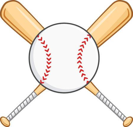 Bates de béisbol cruzados y bola ilustración aislada en blanco