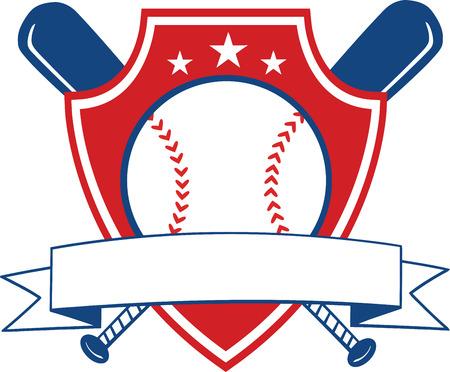 base ball: Baseball Shield Banner  Illustration Isolated on white Illustration
