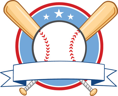 Baseball Banner With Two Bats And Ball  Illustration Isolated on white Illustration
